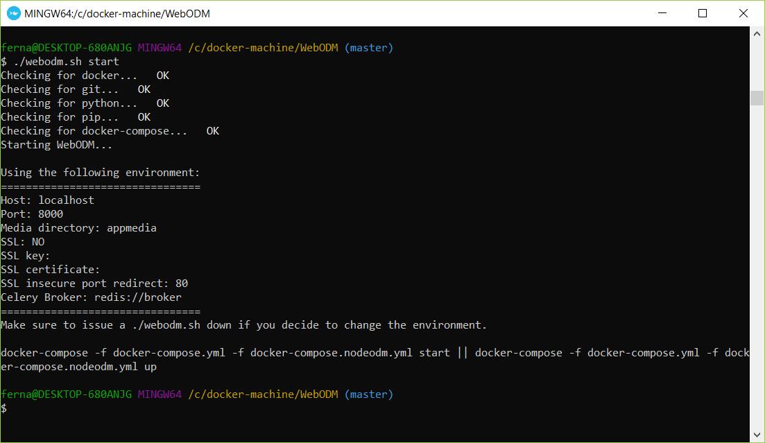 Problem starting WebODM (Docker Toolbox - Windows 10) with