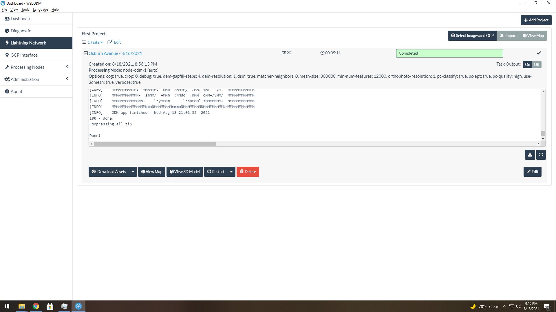 WebODM Screen Snip