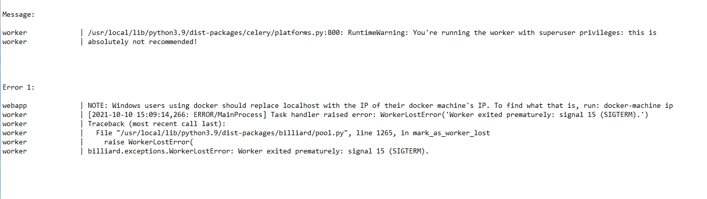 New Docker Errors and Message